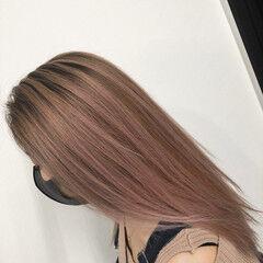 ピンク バレイヤージュ ロング 外国人風カラー ヘアスタイルや髪型の写真・画像