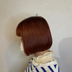 モード オレンジブラウン ボブ ミニボブ ヘアスタイルや髪型の写真・画像