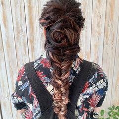 編みおろしヘア メッシュ 編み込み ロープ編み ヘアスタイルや髪型の写真・画像