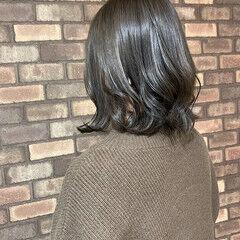 透明感 ボブ ナチュラル アッシュグレー ヘアスタイルや髪型の写真・画像