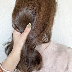 マロン ベージュ 艶髪 アッシュベージュ ヘアスタイルや髪型の写真・画像