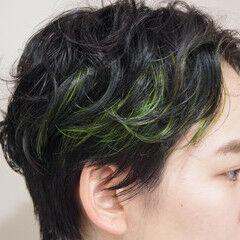 モード インナーカラー エメラルドグリーンカラー インナーグリーン ヘアスタイルや髪型の写真・画像