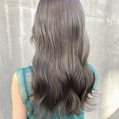 透明感カラー ナチュラル セミロング ハイトーンカラー ヘアスタイルや髪型の写真・画像