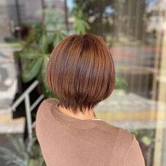 ショートボブ ミニボブ ブラウンベージュ ボブ ヘアスタイルや髪型の写真・画像