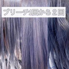 ブリーチ ミディアム ブリーチカラー ホワイトブリーチ ヘアスタイルや髪型の写真・画像
