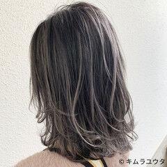 ホワイトブリーチ コントラストハイライト ハイライト セミロング ヘアスタイルや髪型の写真・画像
