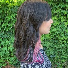 ネイビーブルー ピンクベージュ ブルーバイオレット セミロング ヘアスタイルや髪型の写真・画像
