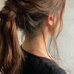 ポニーテールアレンジ セルフヘアアレンジ ナチュラル セルフアレンジ ヘアスタイルや髪型の写真・画像