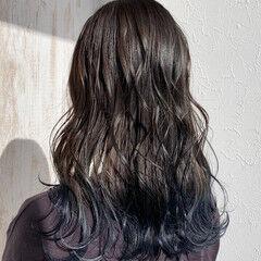 ロング ストリート ブルージュ 裾カラー ヘアスタイルや髪型の写真・画像