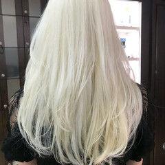 ホワイトブリーチ ロング ダブルカラー バレイヤージュ ヘアスタイルや髪型の写真・画像