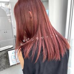 ロング ミルクティーベージュ ピンクベージュ ヌーディベージュ ヘアスタイルや髪型の写真・画像