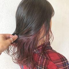 ミディアム ピンクアッシュ ピンクラベンダー ラベンダーピンク ヘアスタイルや髪型の写真・画像