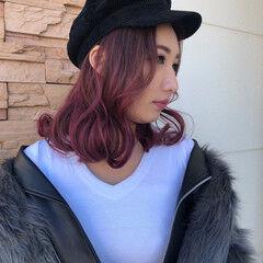 チェリーピンク ベリーピンク 帽子アレンジ チェリー ヘアスタイルや髪型の写真・画像