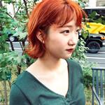 オレンジブラウン オレンジカラー ショートヘア ストリート