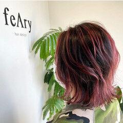 バレイヤージュ ピンクバイオレット ピンク 大人可愛い ヘアスタイルや髪型の写真・画像
