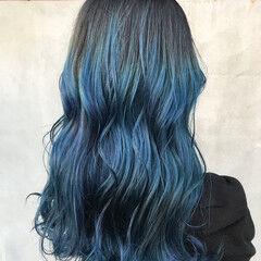ロング アッシュ ブルーラベンダー ブルージュ ヘアスタイルや髪型の写真・画像