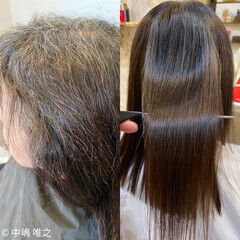 白髪染め 髪質改善 ダークトーン ナチュラル ヘアスタイルや髪型の写真・画像