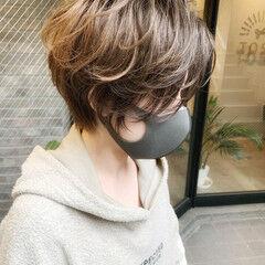 ゆるふわパーマ デート ショートヘア ストリート ヘアスタイルや髪型の写真・画像