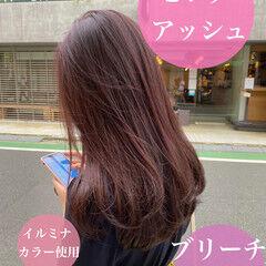 ピンクアッシュ ナチュラル ベリーピンク ロング ヘアスタイルや髪型の写真・画像