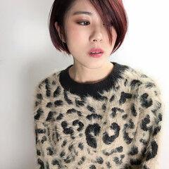 大人女子 ストリート ショート ボルドーヘア ヘアスタイルや髪型の写真・画像