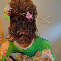 成人式ヘアメイク着付け ガーリー ヘアアレンジ 成人式ヘア ヘアスタイルや髪型の写真・画像