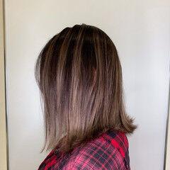 ピンクブラウン ピンク バレイヤージュ ボブ ヘアスタイルや髪型の写真・画像