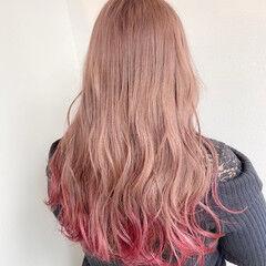 ピンクベージュ 裾カラー ミルクティーベージュ ピンク ヘアスタイルや髪型の写真・画像