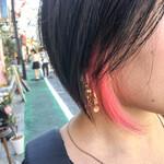 インナーカラー ストリート ピンク ショート