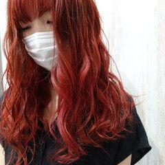 ボルドー ボルドーヘア 韓国風ヘアー チェリーレッド ヘアスタイルや髪型の写真・画像
