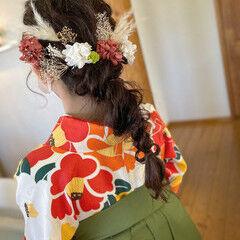 ヘアアレンジ 編みおろしヘア 編みおろし ナチュラル ヘアスタイルや髪型の写真・画像