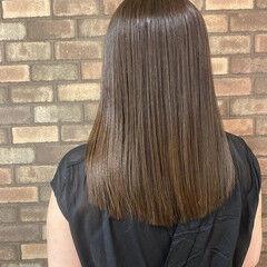 縮毛矯正 艶髪 ミディアム ナチュラル ヘアスタイルや髪型の写真・画像