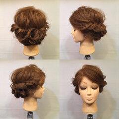 波ウェーブ 結婚式 ヘアアレンジ ロープ編み ヘアスタイルや髪型の写真・画像