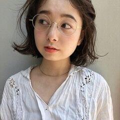 メガネ 眼鏡 ボブ エレガント ヘアスタイルや髪型の写真・画像