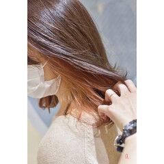 イヤリングカラーピンク ボブ インナーカラー インナーピンク ヘアスタイルや髪型の写真・画像