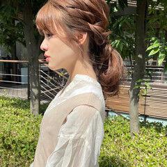 ミディアム 簡単ヘアアレンジ 編みおろしヘア セルフヘアアレンジ ヘアスタイルや髪型の写真・画像