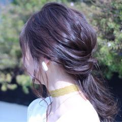 イノセントカラー ベージュ アッシュ セミロング ヘアスタイルや髪型の写真・画像