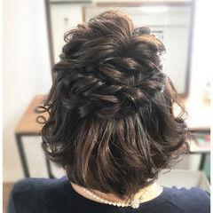 上品 結婚式 ハーフアップ エレガント ヘアスタイルや髪型の写真・画像