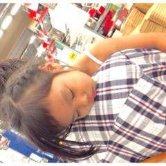 子供 編み込み セミロング まとめ髪 ヘアスタイルや髪型の写真・画像