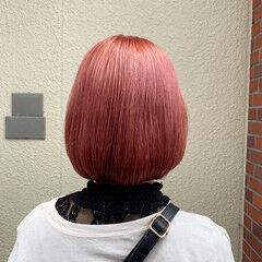ストリート ボブ ピンクアッシュ ピンクカラー ヘアスタイルや髪型の写真・画像
