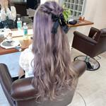 フェミニン ラベンダーピンク ロング 派手髪