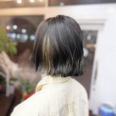 ショートボブ ボブ イヤリングカラー ガーリー ヘアスタイルや髪型の写真・画像