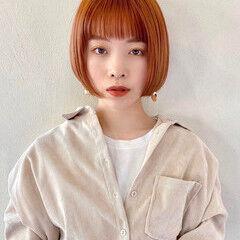 ナチュラル ボブ ミニボブ オレンジカラー ヘアスタイルや髪型の写真・画像
