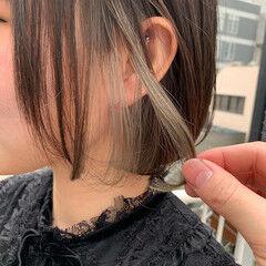 デート ボブ インナーカラーボブ ナチュラル ヘアスタイルや髪型の写真・画像