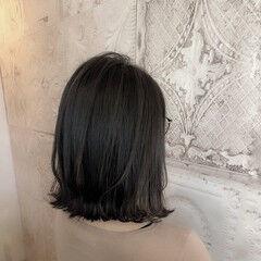 ダークカラー セミロング ハイライト 大人ハイライト ヘアスタイルや髪型の写真・画像