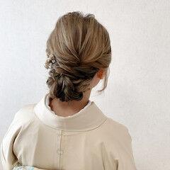 和装髪型 和装ヘア 着物 ミディアム ヘアスタイルや髪型の写真・画像