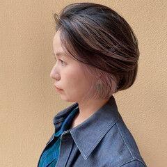 ショートボブ ストリート インナーピンク ダブルカラー ヘアスタイルや髪型の写真・画像