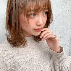 デジタルパーマ ナチュラル ミディアム 小顔ヘア ヘアスタイルや髪型の写真・画像