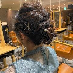 簡単ヘアアレンジ 大人ミディアム ナチュラル 結婚式ヘアアレンジ ヘアスタイルや髪型の写真・画像