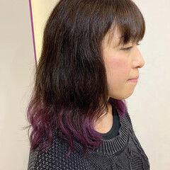 ボルドー キャラデコミュゼリア グラデーションカラー ミディアム ヘアスタイルや髪型の写真・画像