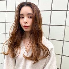 モテ髪 セミロング 大人ハイライト 韓国風ヘアー ヘアスタイルや髪型の写真・画像